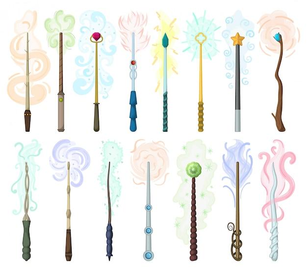 Desenhos animados isolados de varinha mágica definir ícone. desenho animado definir ícone assistente vara.