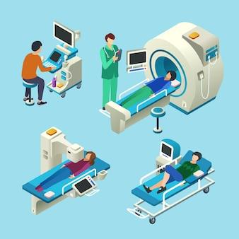 Desenhos animados isométricos de scanner de ressonância magnética de médico e pacientes no exame médico de exame de ressonância magnética