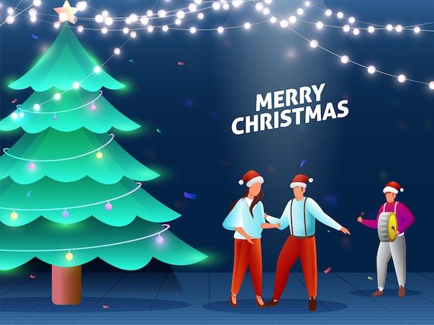 Desenhos animados jovens celebrando juntos com árvore de natal