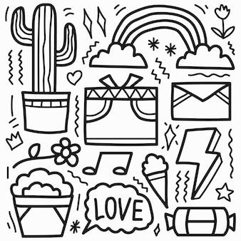 Desenhos animados kawaii desenhados à mão desenho abstrato