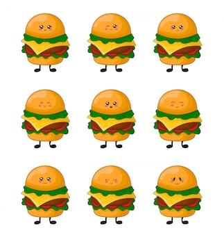 Desenhos animados kawaii fast food - conjunto de hambúrgueres