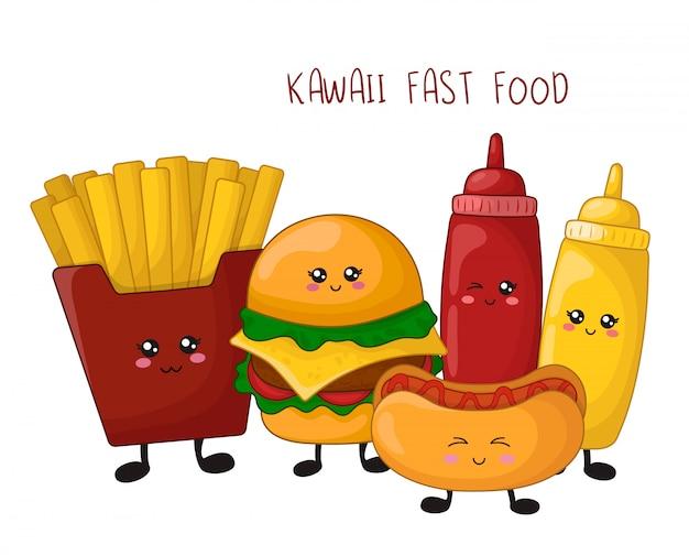 Desenhos animados kawaii fast food - hambúrguer, batatas fritas, cachorro-quente