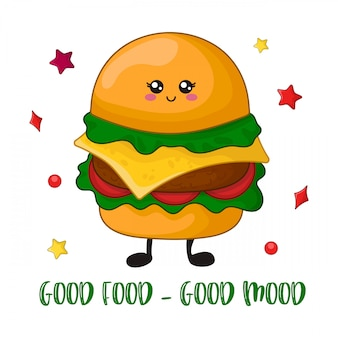 Desenhos animados kawaii fast food
