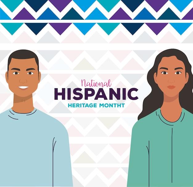 Desenhos animados latinos de mulher e homem com formas azuis, mês da herança hispânica nacional e tema cultural