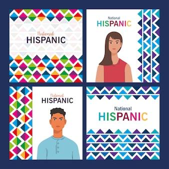 Desenhos animados latinos de mulheres e homens com formas coloridas, mês da herança hispânica nacional e tema cultural