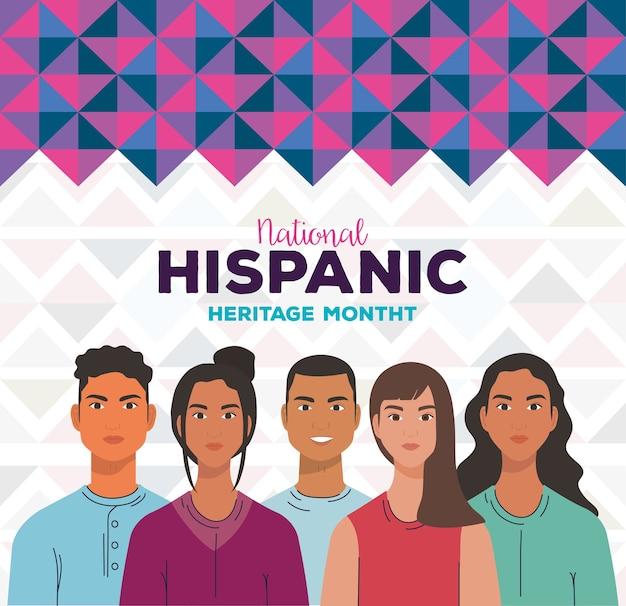 Desenhos animados latinos de mulheres e homens com formas roxas, mês da herança hispânica nacional e tema cultural