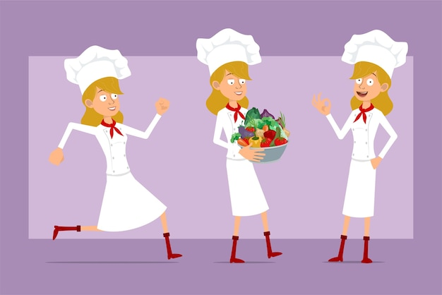 Desenhos animados liso engraçado chef cozinheiro personagem de mulher de uniforme branco e chapéu de padeiro. menina correndo e carregando a panela de metal com legumes frescos.