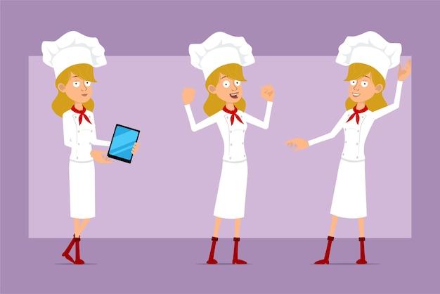 Desenhos animados liso engraçado chef cozinheiro personagem de mulher de uniforme branco e chapéu de padeiro. menina mostrando músculos fortes e segurando o novo tablet.