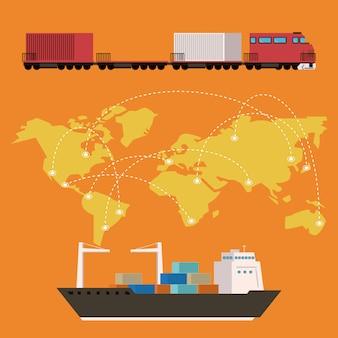 Desenhos animados logísticos de mercadoria de carga de transporte