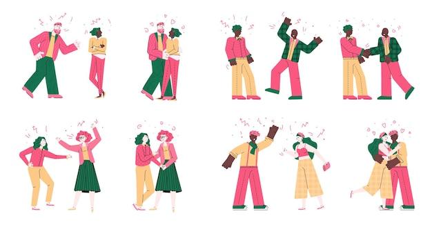 Desenhos animados lutando contra um conjunto isolado de conflito e resolução de casais
