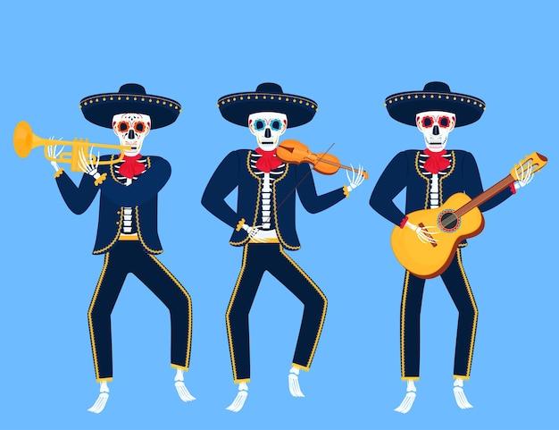 Desenhos animados mariachi mortos tocam instrumentos musicais. ilustração do vetor de caveira de açúcar. dia da independência do méxico.