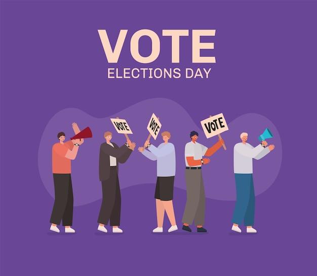 Desenhos animados masculinos com cartazes de votação e design de megafone, dia das eleições
