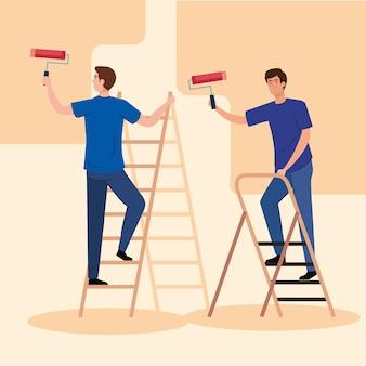 Desenhos animados masculinos pintando com escada rolante projeto de remodelação, construção, trabalho e reparo