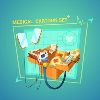 Desenhos animados médicos conjunto com símbolos de tratamento de coração e lesão
