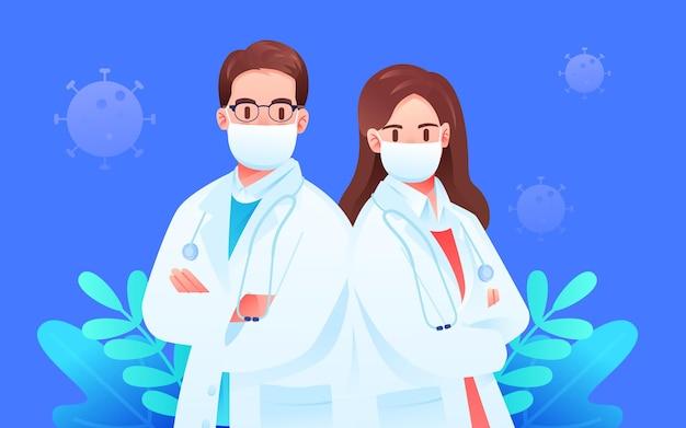Desenhos animados, médicos e enfermeiras do hospital em jaleco branco, material de ilustração vetorial