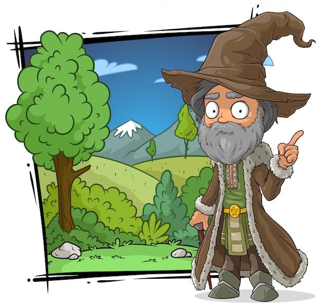 Desenhos animados medieval velho mago com chapéu grande