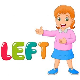 Desenhos animados menina apontando para a esquerda com a palavra esquerda