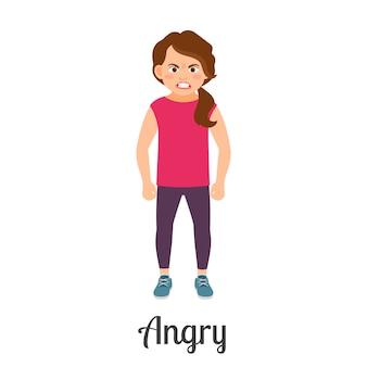 Desenhos animados menina com raiva sentimento
