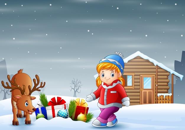 Desenhos animados menina com um cervo no natal