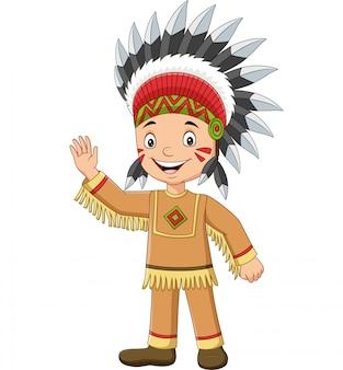 Desenhos animados menino nativo indiano