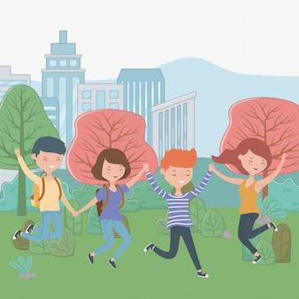 Desenhos animados meninos e meninas de adolescente