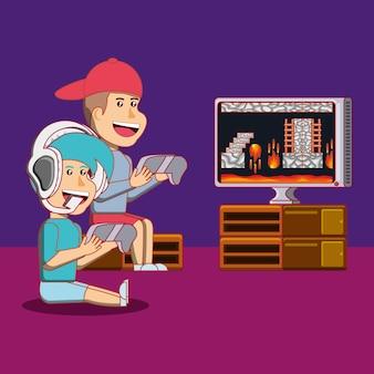 Desenhos animados meninos felizes jogando videogame sobre fundo roxo