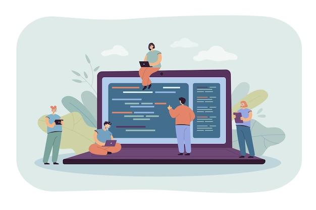 Desenhos animados minúsculos jovens programadores e programadores que trabalham com computadores. ilustração plana.
