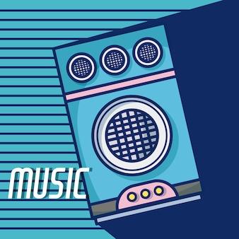 Desenhos animados modernos do equipamento da música do orador do partido