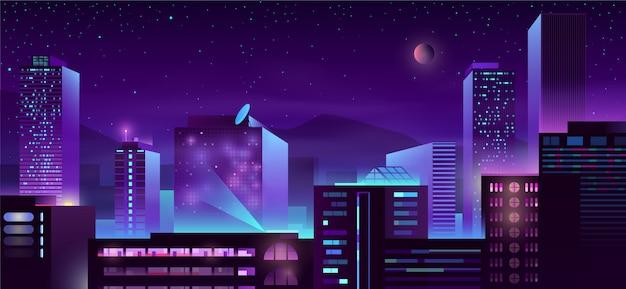 Desenhos animados modernos dos edifícios da noite da metrópole
