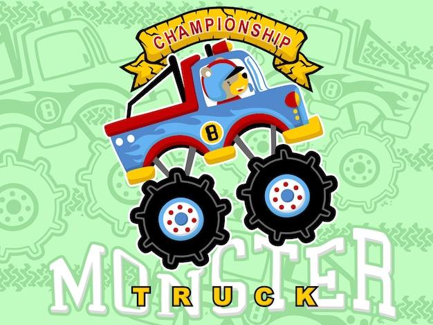 Desenhos animados monster truck com motorista de animais
