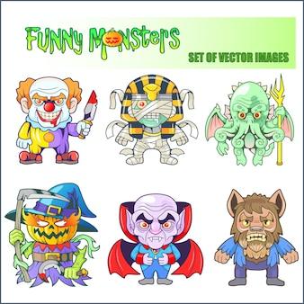 Desenhos animados monstros engraçados