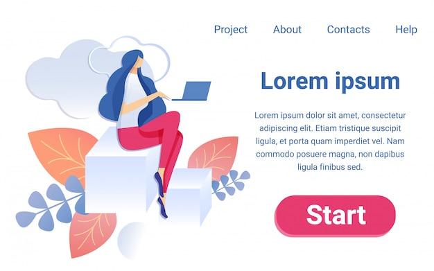 Desenhos animados mulher trabalhando notebook sentar no gráfico de barras