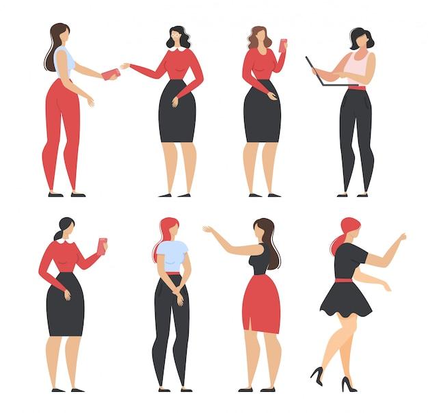 Desenhos animados mulheres bonitas em conjunto de roupas diferentes