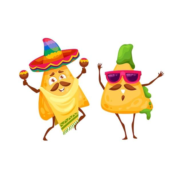 Desenhos animados nachos mexicanos chips personagens felizes. mariachi de vetor em sombrero e poncho tocando maracas. pedaço de batata frita com molho de guacamole usando óculos escuros para celebrar feriados nacionais e dançar