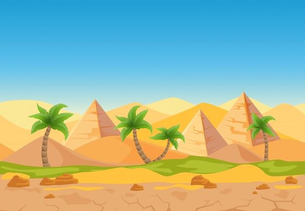 Desenhos animados natureza areia paisagem do deserto com palmeiras, ervas e pirâmides egípcias.