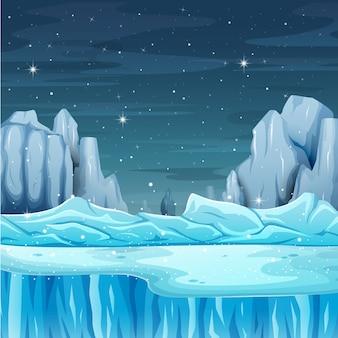 Desenhos animados natureza paisagem de inverno com iceberg