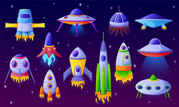 Desenhos animados nave alienígena fantasia nave espacial ufo futurista ônibus espacial ou aeronave foguetes engraçados Vetor Premium