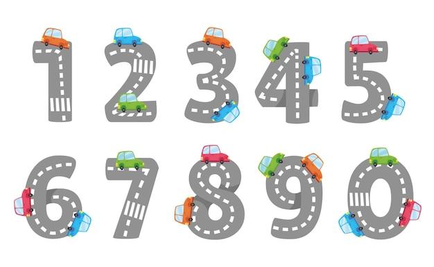 Desenhos animados números de 1 a 9 em uma ilustração vetorial de fundo branco estrada infantil