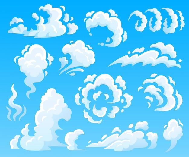 Desenhos animados nuvens e fumaça. nuvem de poeira, ícones de ação rápida. coleção de ilustração isolada do céu