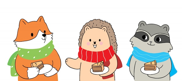 Desenhos animados outono bonito, raposa e ouriço e guaxinim comendo torta vector.