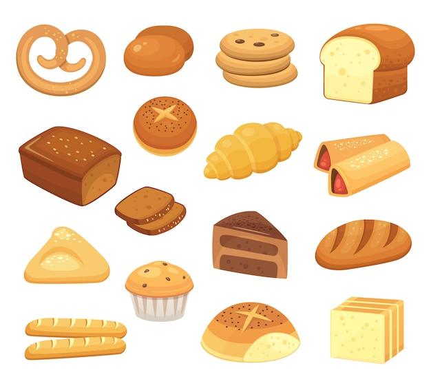 Desenhos animados pães e pãezinhos. pão francês, torradas de café da manhã e fatia de bolo doce. conjunto de produtos de panificação