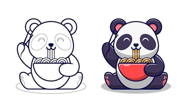Desenhos animados para colorir panda fofa comendo macarrão ramen para crianças