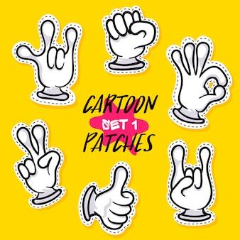 Desenhos animados patches com mãos humanas