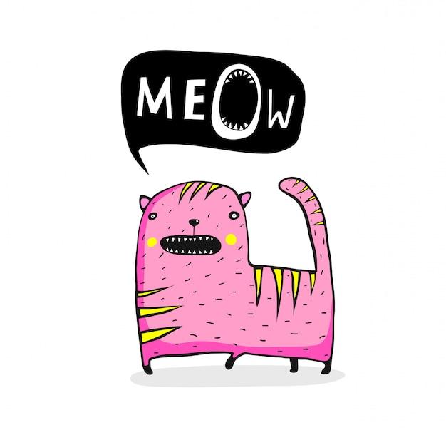 Desenhos animados peculiares do gato do meow
