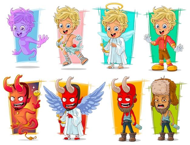 Desenhos animados pequeno conjunto de caracteres cupido e demônio vermelho