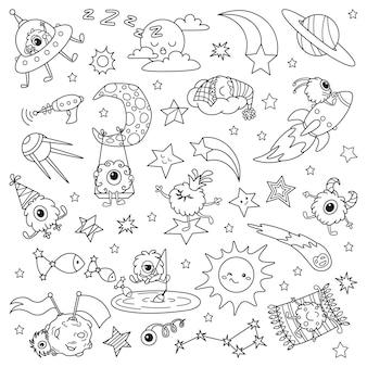 Desenhos animados pequenos alienígenas no espaço. doodle ilustração para colorir