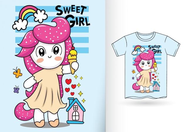 Desenhos animados pequenos bonitos do unicórnio para o tshirt