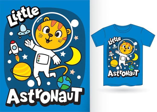 Desenhos animados pequenos do astronauta do tigre para o tshirt