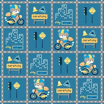 Desenhos animados pequenos do motociclista com sinais de trânsito no vetor do padrão