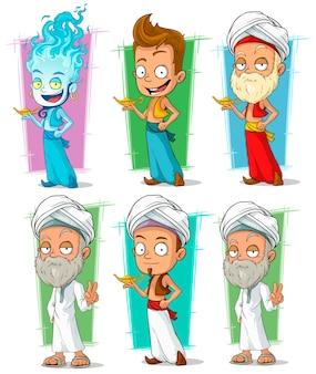 Desenhos animados persa e gênios com conjunto de caracteres da lâmpada